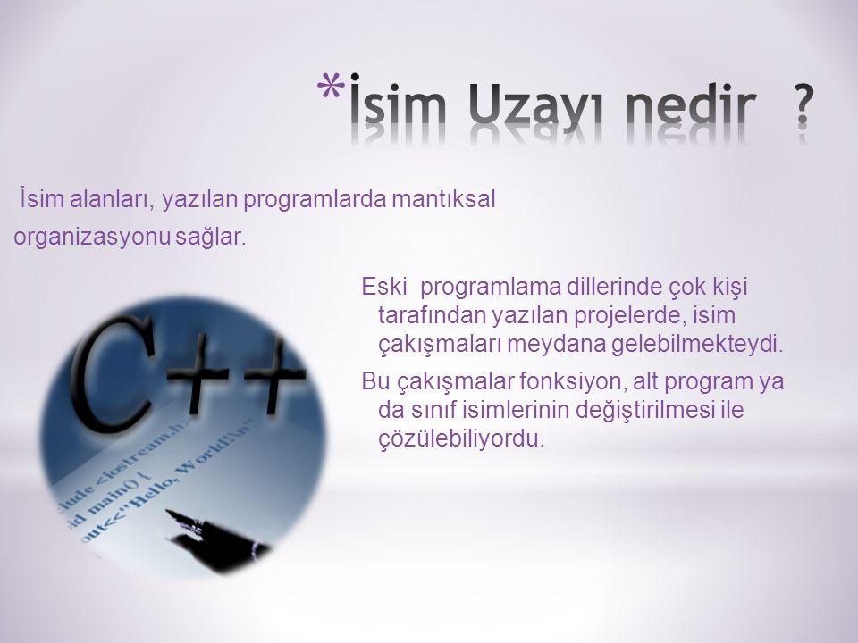 İsim alanları, yazılan programlarda mantıksal organizasyonu sağlar.