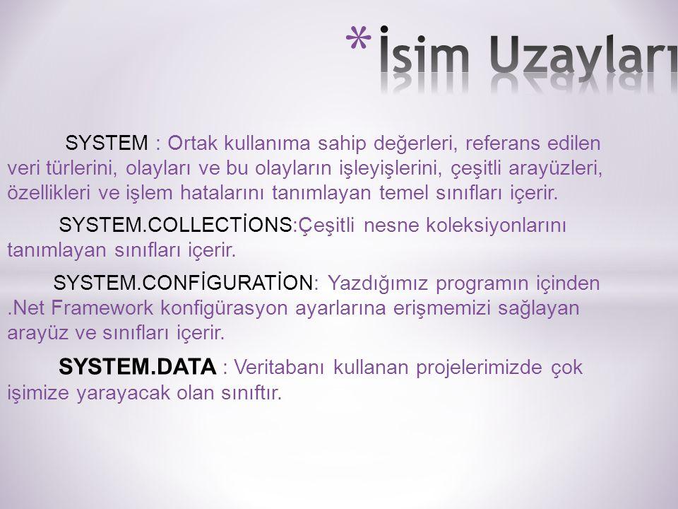 SYSTEM : Ortak kullanıma sahip değerleri, referans edilen veri türlerini, olayları ve bu olayların işleyişlerini, çeşitli arayüzleri, özellikleri ve işlem hatalarını tanımlayan temel sınıfları içerir.