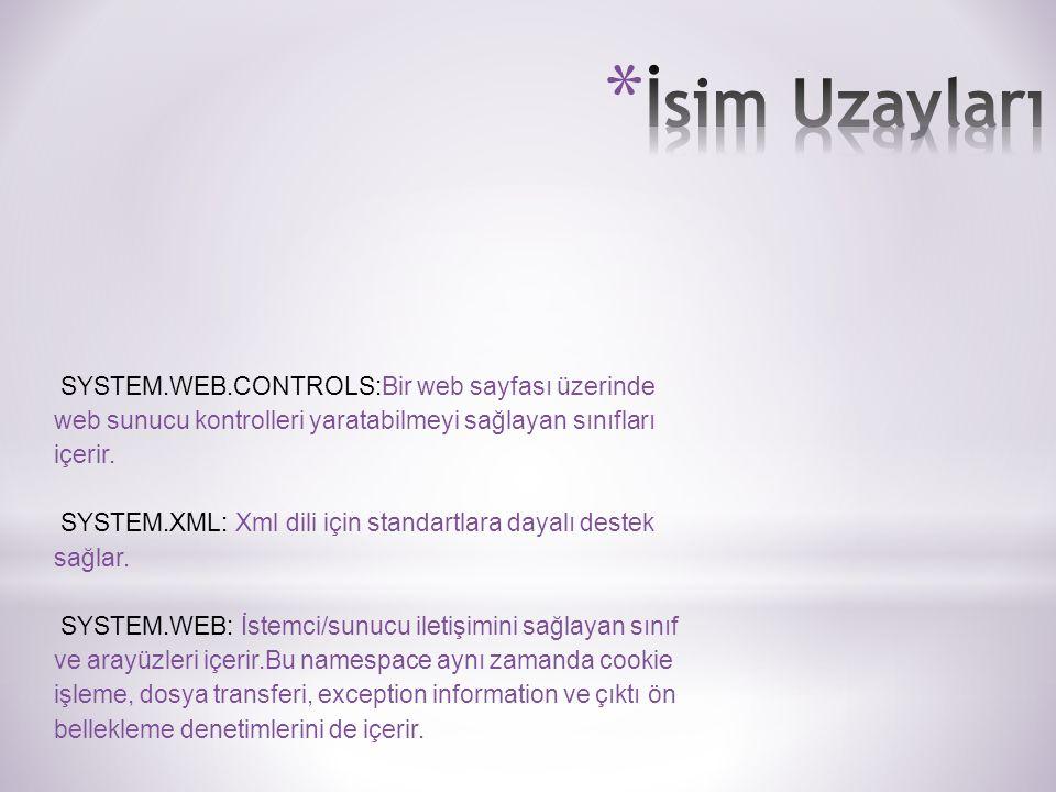 SYSTEM.WEB.CONTROLS:Bir web sayfası üzerinde web sunucu kontrolleri yaratabilmeyi sağlayan sınıfları içerir.