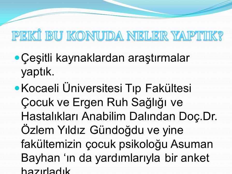 Çeşitli kaynaklardan araştırmalar yaptık. Kocaeli Üniversitesi Tıp Fakültesi Çocuk ve Ergen Ruh Sağlığı ve Hastalıkları Anabilim Dalından Doç.Dr. Özle