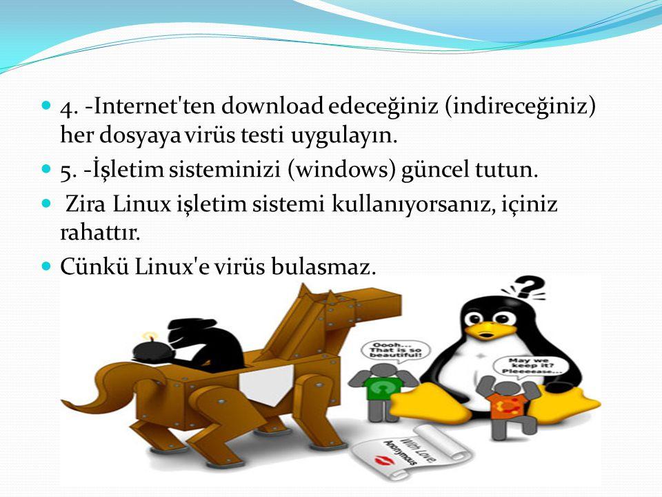 4.-Internet ten download edeceğiniz (indireceğiniz) her dosyaya virüs testi uygulayın.