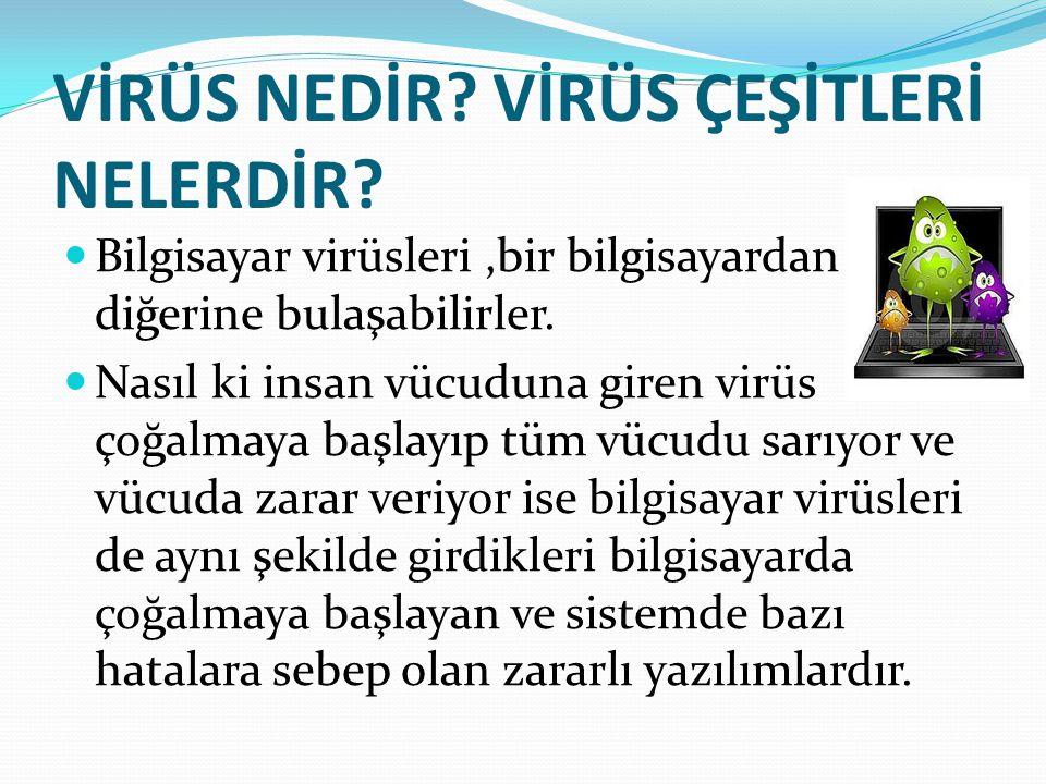 Genel olarak bu şekilde tanımlansa bile aslında virüsler de çeşitlere ayrılır 1.
