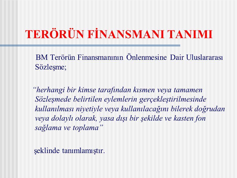 """TERÖRÜN FİNANSMANI TANIMI BM Terörün Finansmanının Önlenmesine Dair Uluslararası Sözleşme; """"herhangi bir kimse tarafından kısmen veya tamamen Sözleşme"""