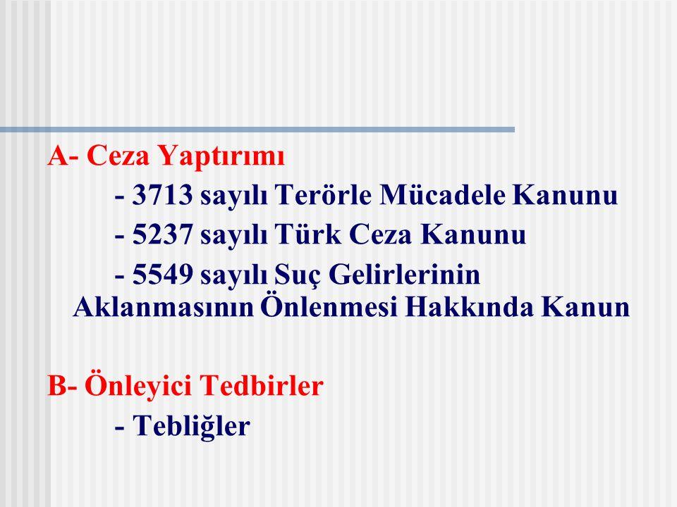 A- Ceza Yaptırımı - 3713 sayılı Terörle Mücadele Kanunu - 5237 sayılı Türk Ceza Kanunu - 5549 sayılı Suç Gelirlerinin Aklanmasının Önlenmesi Hakkında