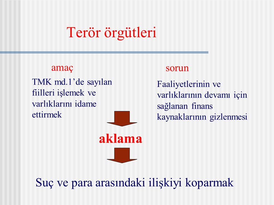 Terör örgütleri amaç sorun Suç ve para arasındaki ilişkiyi koparmak TMK md.1'de sayılan fiilleri işlemek ve varlıklarını idame ettirmek Faaliyetlerini