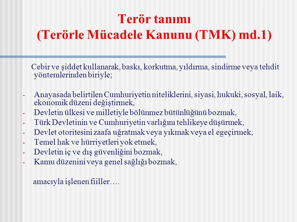Terör tanımı (Terörle Mücadele Kanunu (TMK) md.1) Cebir ve şiddet kullanarak, baskı, korkutma, yıldırma, sindirme veya tehdit yöntemlerinden biriyle;