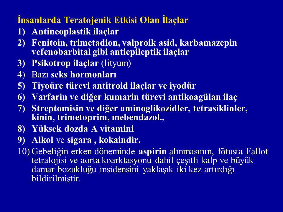 İnsanlarda Teratojenik Etkisi Olan İlaçlar 1)Antineoplastik ilaçlar 2)Fenitoin, trimetadion, valproik asid, karbamazepin vefenobarbital gibi antiepileptik ilaçlar 3)Psikotrop ilaçlar (lityum) 4)Bazı seks hormonları 5)Tiyoüre türevi antitroid ilaçlar ve iyodür 6)Varfarin ve diğer kumarin türevi antikoagülan ilaç 7)Streptomisin ve diğer aminoglikozidler, tetrasiklinler, kinin, trimetoprim, mebendazol., 8)Yüksek dozda A vitamini 9)Alkol ve sigara, kokaindir.