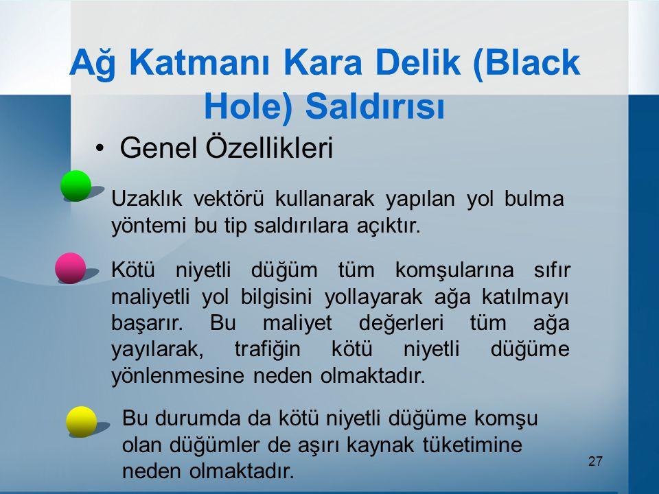27 Ağ Katmanı Kara Delik (Black Hole) Saldırısı Genel Özellikleri Uzaklık vektörü kullanarak yapılan yol bulma yöntemi bu tip saldırılara açıktır.