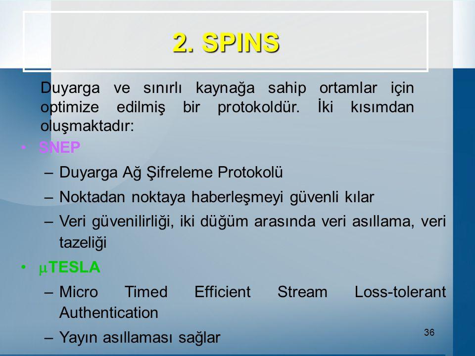 36 2.SPINS Duyarga ve sınırlı kaynağa sahip ortamlar için optimize edilmiş bir protokoldür.