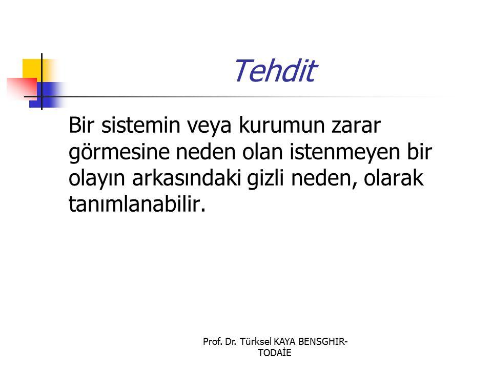 Prof. Dr. Türksel KAYA BENSGHIR- TODAİE Tehdit Bir sistemin veya kurumun zarar görmesine neden olan istenmeyen bir olayın arkasındaki gizli neden, ola