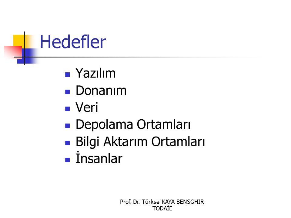 Prof. Dr. Türksel KAYA BENSGHIR- TODAİE Hedefler Yazılım Donanım Veri Depolama Ortamları Bilgi Aktarım Ortamları İnsanlar