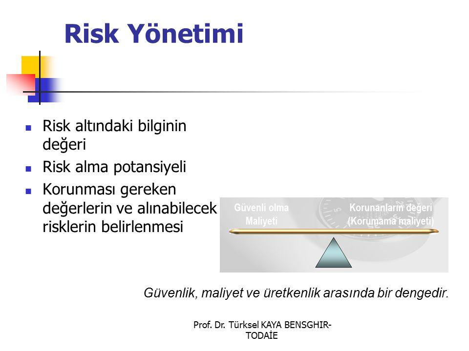 Prof. Dr. Türksel KAYA BENSGHIR- TODAİE Risk Yönetimi Risk altındaki bilginin değeri Risk alma potansiyeli Korunması gereken değerlerin ve alınabilece