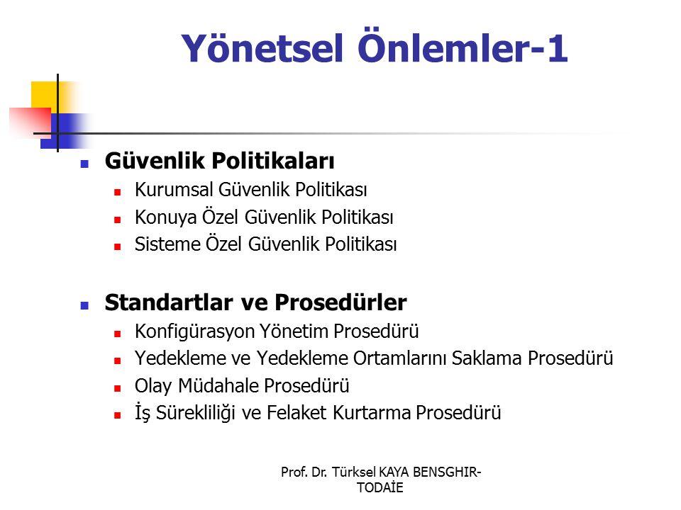 Prof. Dr. Türksel KAYA BENSGHIR- TODAİE Yönetsel Önlemler-1 Güvenlik Politikaları Kurumsal Güvenlik Politikası Konuya Özel Güvenlik Politikası Sisteme
