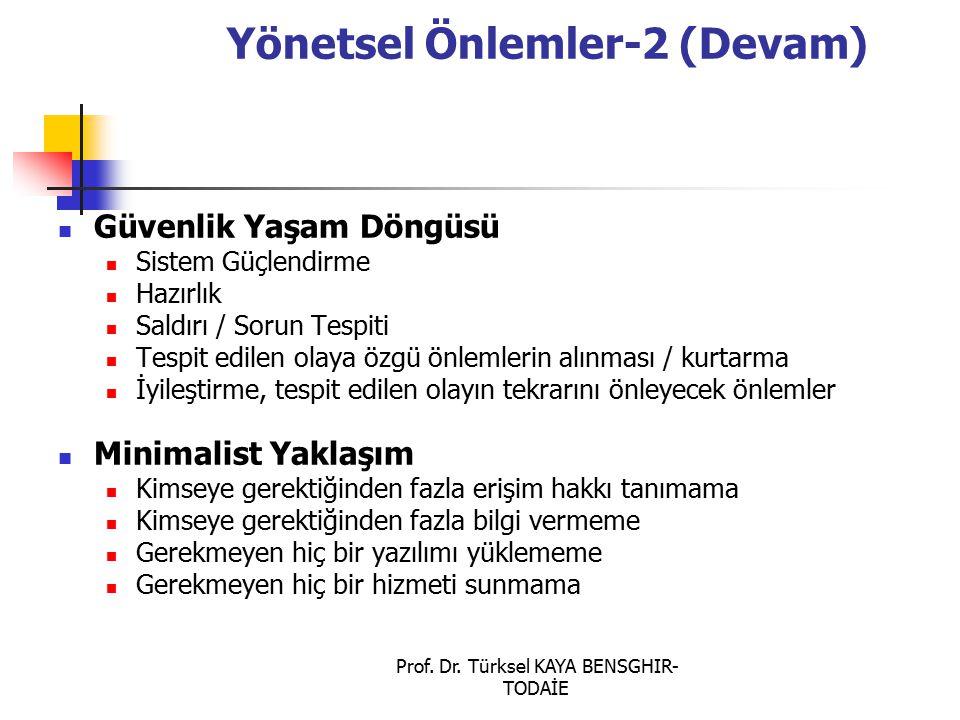 Prof. Dr. Türksel KAYA BENSGHIR- TODAİE Yönetsel Önlemler-2 (Devam) Güvenlik Yaşam Döngüsü Sistem Güçlendirme Hazırlık Saldırı / Sorun Tespiti Tespit