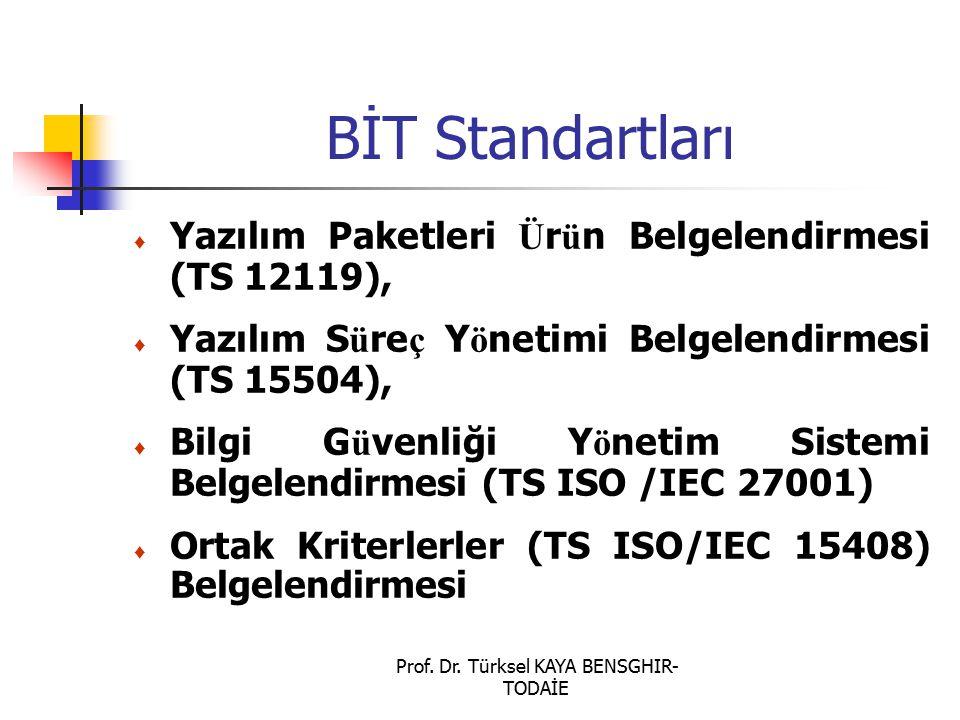 Prof. Dr. Türksel KAYA BENSGHIR- TODAİE BİT Standartları ♦ Yazılım Paketleri Ü r ü n Belgelendirmesi (TS 12119), ♦ Yazılım S ü re ç Y ö netimi Belgele