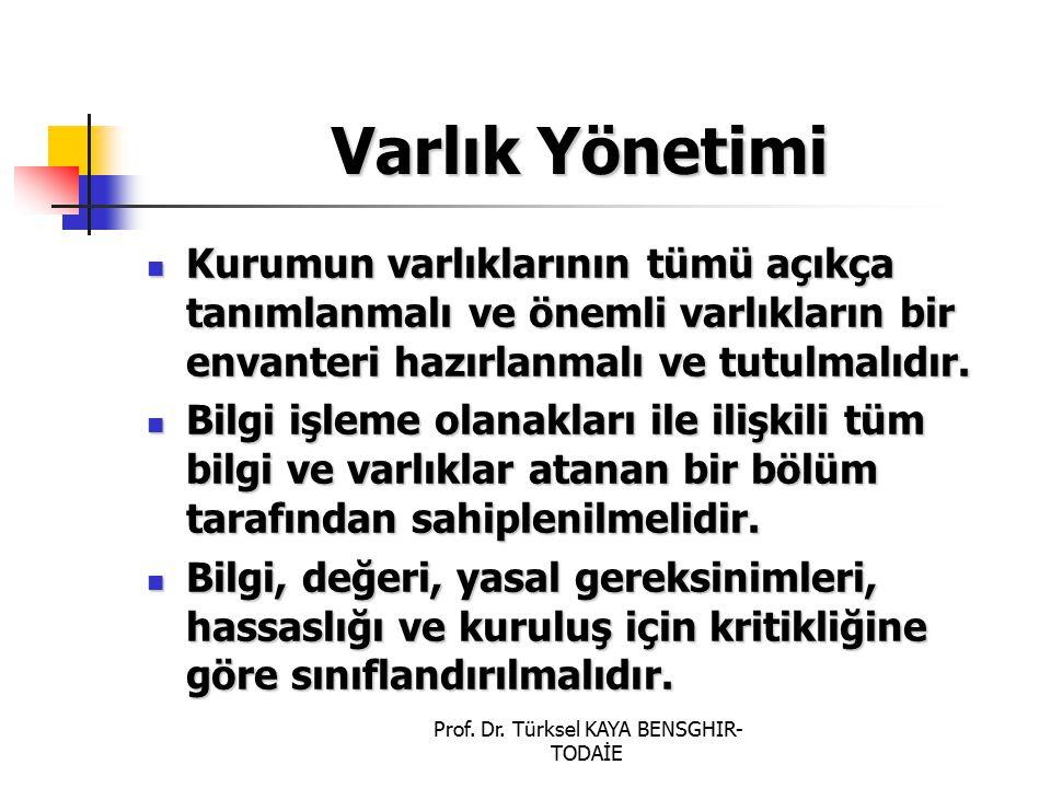 Prof. Dr. Türksel KAYA BENSGHIR- TODAİE Varlık Yönetimi Kurumun varlıklarının tümü açıkça tanımlanmalı ve önemli varlıkların bir envanteri hazırlanmal