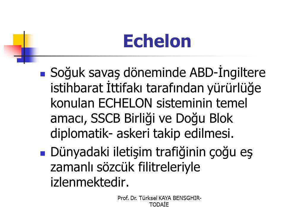 Prof. Dr. Türksel KAYA BENSGHIR- TODAİE Echelon Soğuk savaş döneminde ABD-İngiltere istihbarat İttifakı tarafından yürürlüğe konulan ECHELON sistemini