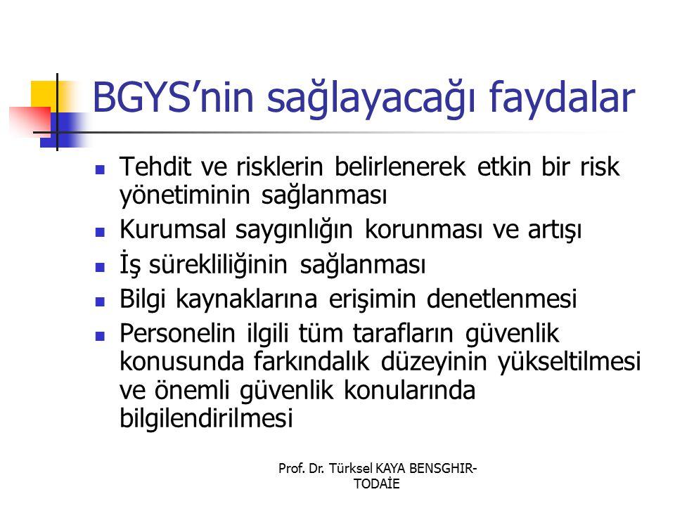 Prof. Dr. Türksel KAYA BENSGHIR- TODAİE BGYS'nin sağlayacağı faydalar Tehdit ve risklerin belirlenerek etkin bir risk yönetiminin sağlanması Kurumsal