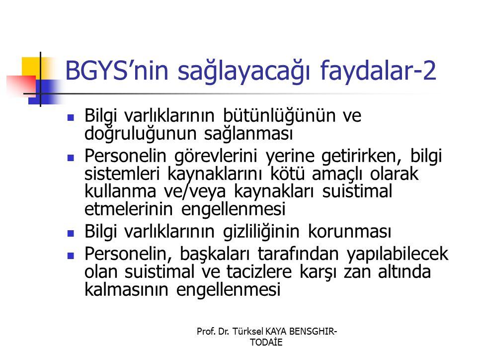 Prof. Dr. Türksel KAYA BENSGHIR- TODAİE BGYS'nin sağlayacağı faydalar-2 Bilgi varlıklarının bütünlüğünün ve doğruluğunun sağlanması Personelin görevle