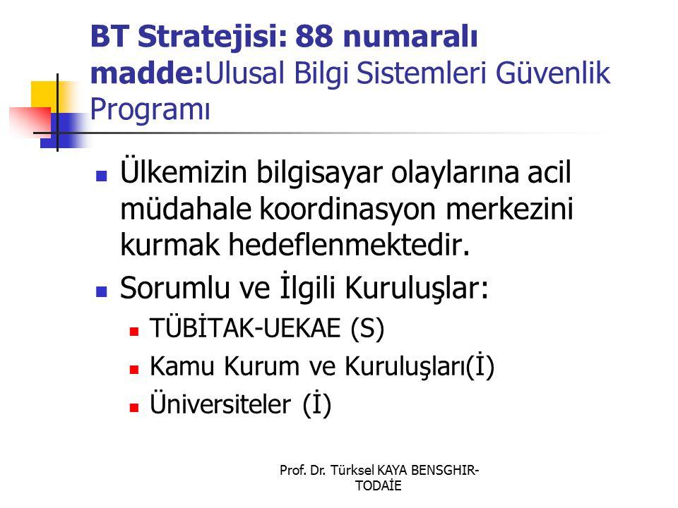 Prof. Dr. Türksel KAYA BENSGHIR- TODAİE BT Stratejisi: 88 numaralı madde:Ulusal Bilgi Sistemleri Güvenlik Programı Ülkemizin bilgisayar olaylarına aci