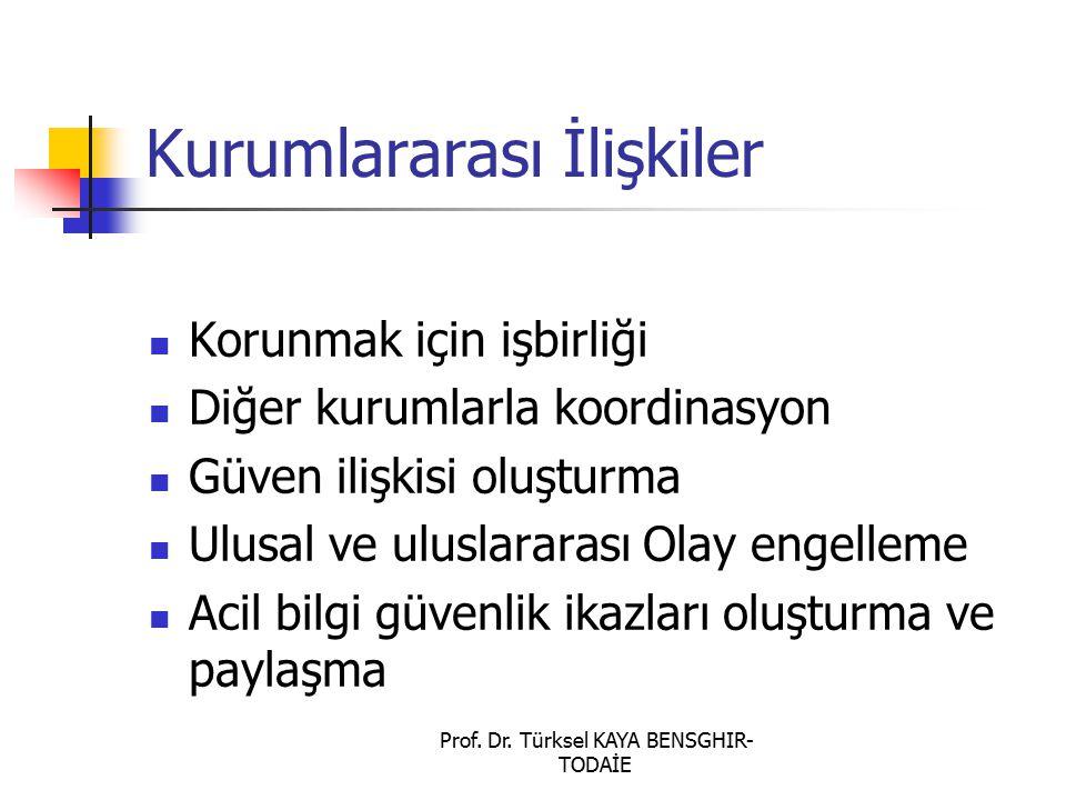 Prof. Dr. Türksel KAYA BENSGHIR- TODAİE Kurumlararası İlişkiler Korunmak için işbirliği Diğer kurumlarla koordinasyon Güven ilişkisi oluşturma Ulusal