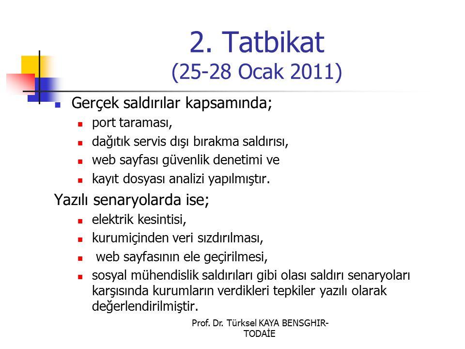 2. Tatbikat (25-28 Ocak 2011) Gerçek saldırılar kapsamında; port taraması, dağıtık servis dışı bırakma saldırısı, web sayfası güvenlik denetimi ve kay