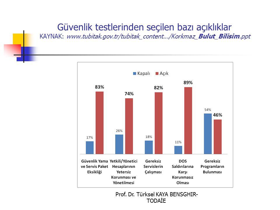 Güvenlik testlerinden seçilen bazı açıklıklar KAYNAK: www.tubitak.gov.tr/tubitak_content.../Korkmaz_Bulut_Bilisim.ppt Prof. Dr. Türksel KAYA BENSGHIR-