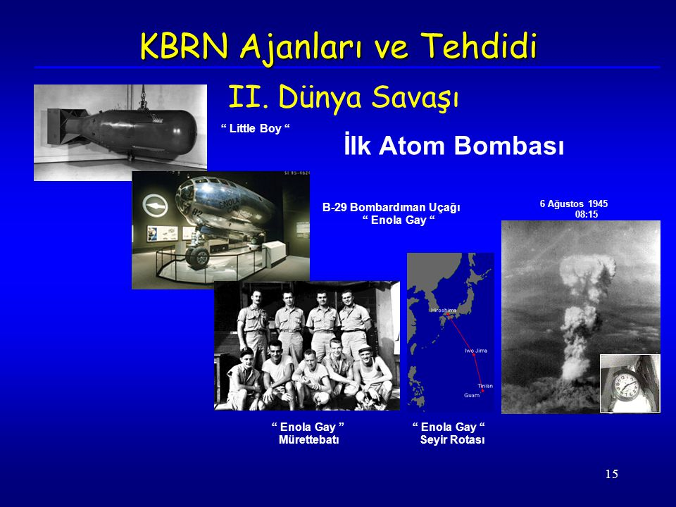 "15 İlk Atom Bombası "" Little Boy "" B-29 Bombardıman Uçağı "" Enola Gay "" 6 Ağustos 1945 08:15 "" Enola Gay "" Mürettebatı "" Enola Gay "" Seyir Rotası KBRN"