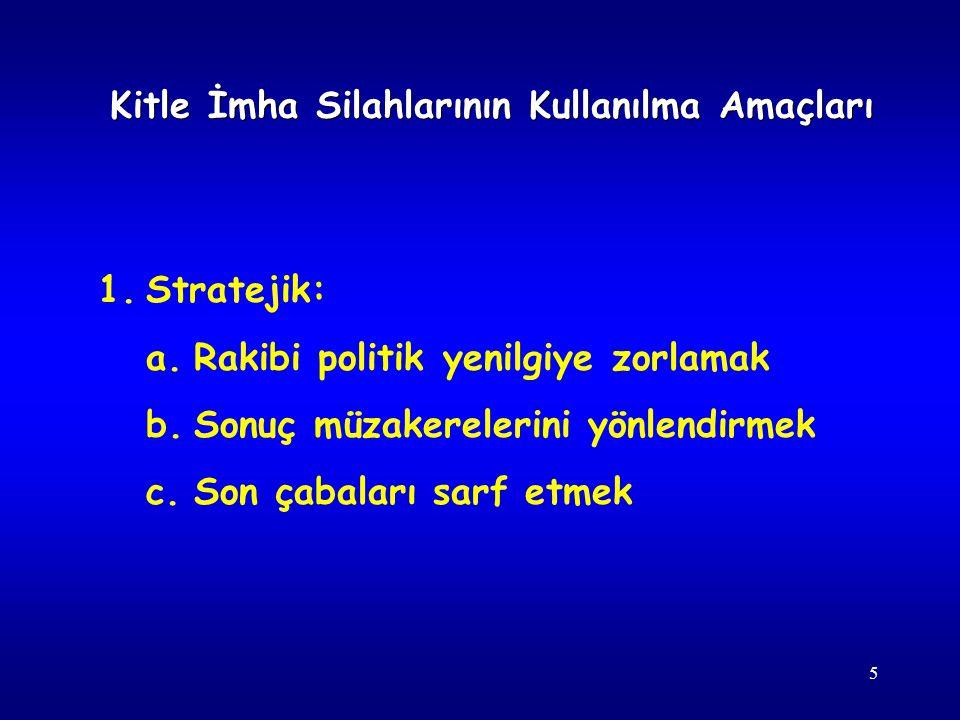 5 1.Stratejik: a.Rakibi politik yenilgiye zorlamak b.Sonuç müzakerelerini yönlendirmek c.Son çabaları sarf etmek Kitle İmha Silahlarının Kullanılma Am