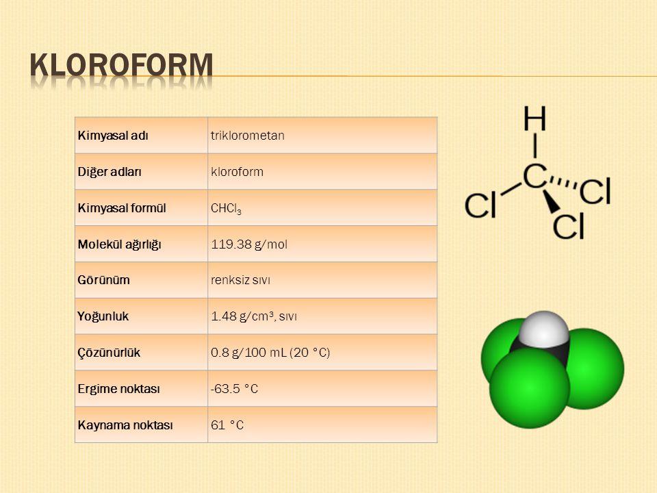Kimyasal adıtriklorometan Diğer adlarıkloroform Kimyasal formülCHCl 3 Molekül ağırlığı119.38 g/mol Görünümrenksiz sıvı Yoğunluk1.48 g/cm³, sıvı Çözünü