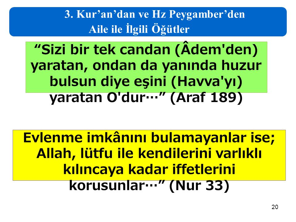 """20 3. Kur'an'dan ve Hz Peygamber'den Aile ile İlgili Öğütler """"Sizi bir tek candan (Âdem'den) yaratan, ondan da yanında huzur bulsun diye eşini (Havva'"""