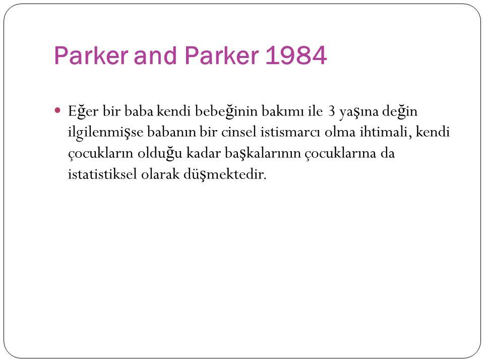 Parker and Parker 1984 E ğ er bir baba kendi bebe ğ inin bakımı ile 3 ya ş ına de ğ in ilgilenmi ş se babanın bir cinsel istismarcı olma ihtimali, kendi çocukların oldu ğ u kadar ba ş kalarının çocuklarına da istatistiksel olarak dü ş mektedir.