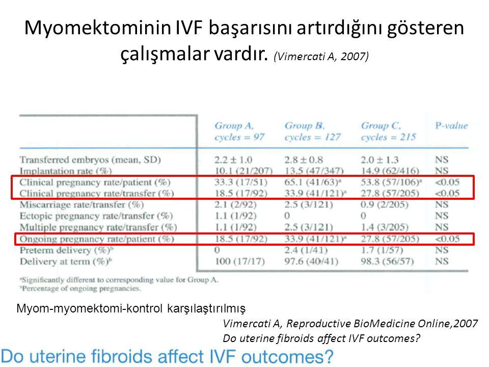 Myomektominin IVF başarısını artırdığını gösteren çalışmalar vardır.