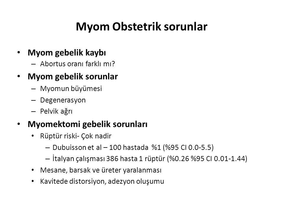 Myom Obstetrik sorunlar Myom gebelik kaybı – Abortus oranı farklı mı.