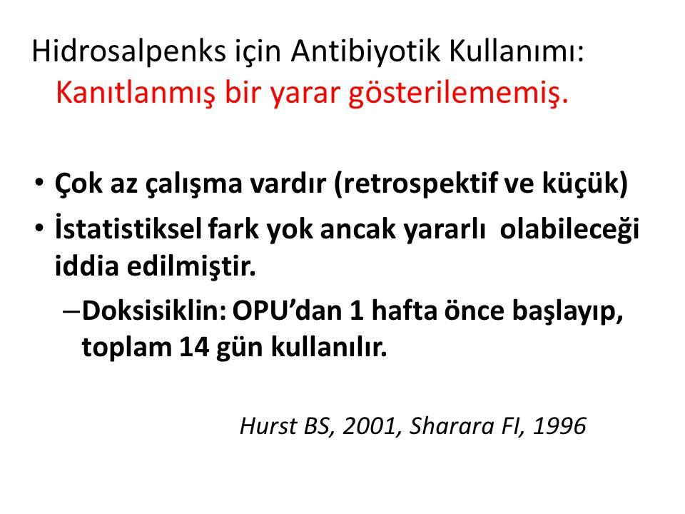 Hidrosalpenks için Antibiyotik Kullanımı: Kanıtlanmış bir yarar gösterilememiş.