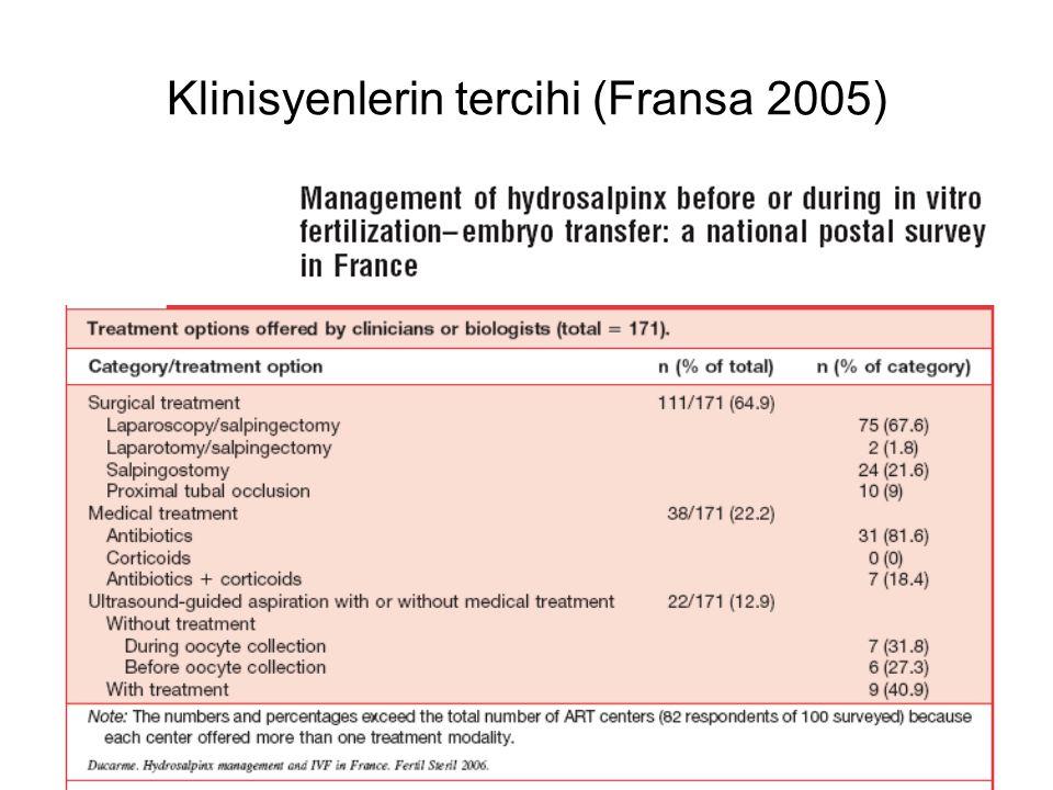 Klinisyenlerin tercihi (Fransa 2005)