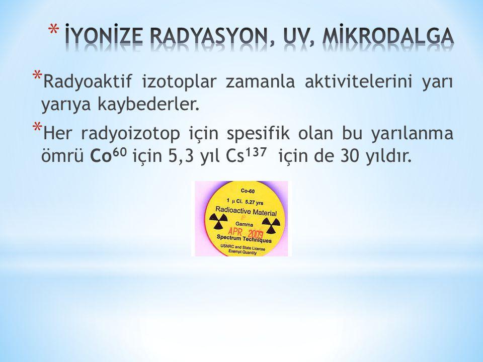 * Radyoaktif izotoplar zamanla aktivitelerini yarı yarıya kaybederler. * Her radyoizotop için spesifik olan bu yarılanma ömrü Co 60 için 5,3 yıl Cs 13