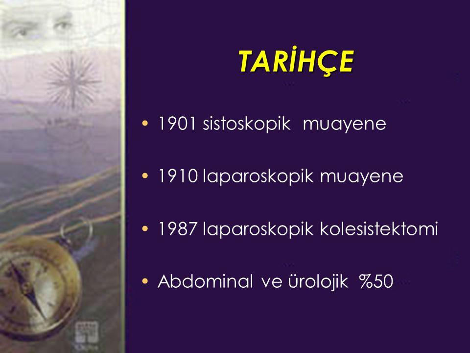TARİHÇE 1901 sistoskopik muayene 1910 laparoskopik muayene 1987 laparoskopik kolesistektomi Abdominal ve ürolojik %50
