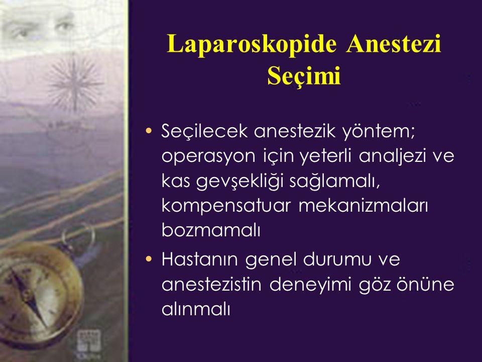 Laparoskopide Anestezi Seçimi Seçilecek anestezik yöntem; operasyon için yeterli analjezi ve kas gevşekliği sağlamalı, kompensatuar mekanizmaları bozmamalı Hastanın genel durumu ve anestezistin deneyimi göz önüne alınmalı