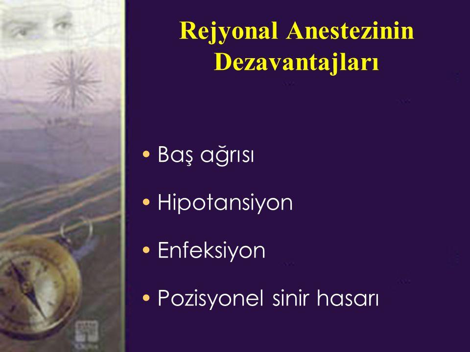 Rejyonal Anestezinin Dezavantajları Baş ağrısı Hipotansiyon Enfeksiyon Pozisyonel sinir hasarı