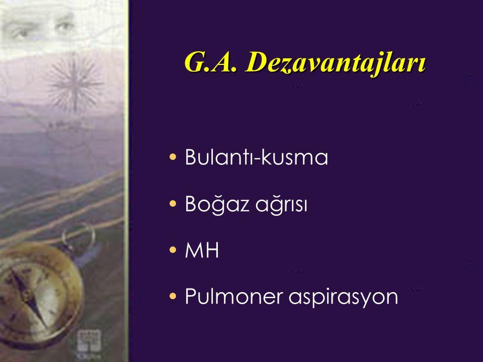 G.A. Dezavantajları Bulantı-kusma Boğaz ağrısı MH Pulmoner aspirasyon