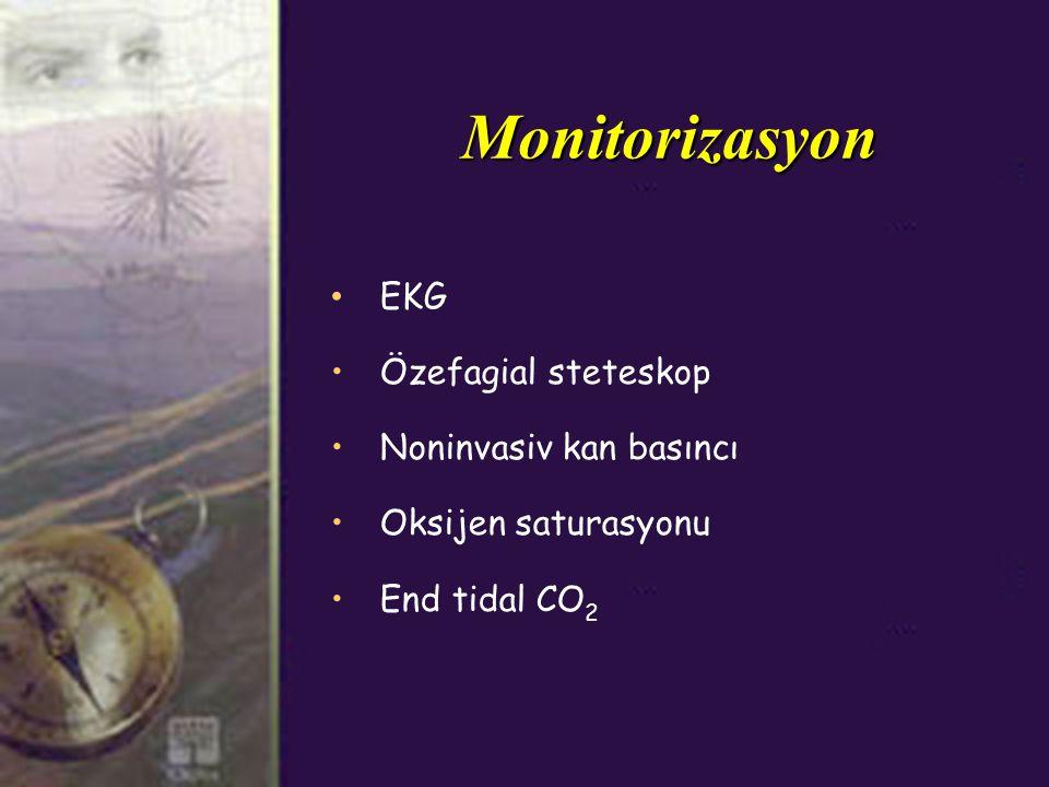 Monitorizasyon EKG Özefagial steteskop Noninvasiv kan basıncı Oksijen saturasyonu End tidal CO 2