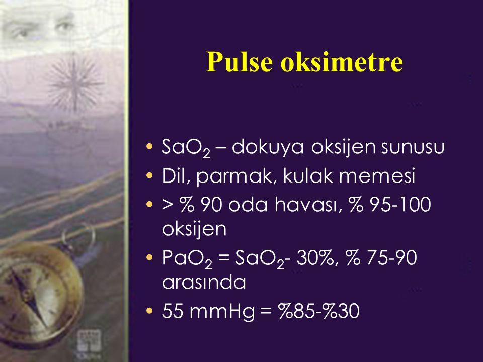 Pulse oksimetre SaO 2 – dokuya oksijen sunusu Dil, parmak, kulak memesi > % 90 oda havası, % 95-100 oksijen PaO 2 = SaO 2 - 30%, % 75-90 arasında 55 mmHg = %85-%30