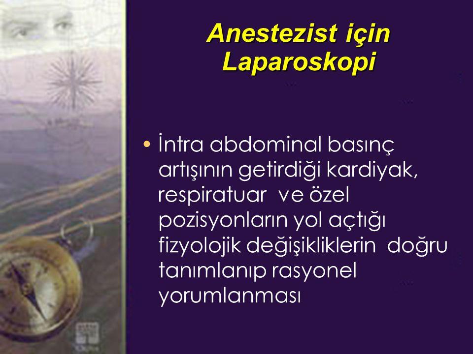 Anestezist için Laparoskopi İntra abdominal basınç artışının getirdiği kardiyak, respiratuar ve özel pozisyonların yol açtığı fizyolojik değişikliklerin doğru tanımlanıp rasyonel yorumlanması