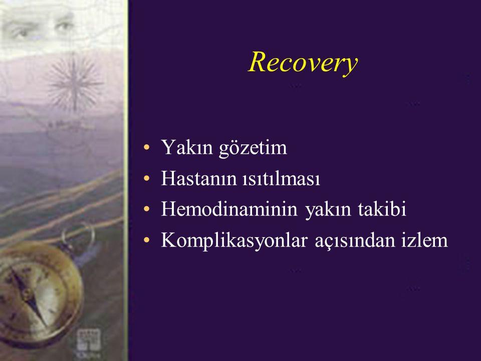 Recovery Yakın gözetim Hastanın ısıtılması Hemodinaminin yakın takibi Komplikasyonlar açısından izlem
