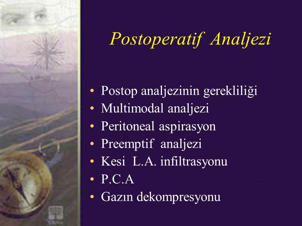 Postoperatif Analjezi Postop analjezinin gerekliliği Multimodal analjezi Peritoneal aspirasyon Preemptif analjezi Kesi L.A.