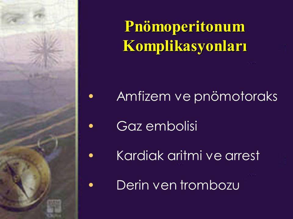 Pnömoperitonum Komplikasyonları Amfizem ve pnömotoraks Gaz embolisi Kardiak aritmi ve arrest Derin ven trombozu