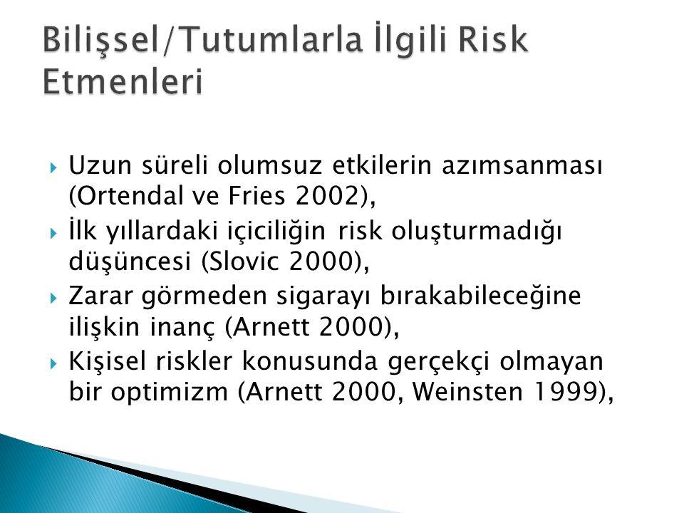  Uzun süreli olumsuz etkilerin azımsanması (Ortendal ve Fries 2002),  İlk yıllardaki içiciliğin risk oluşturmadığı düşüncesi (Slovic 2000),  Zarar