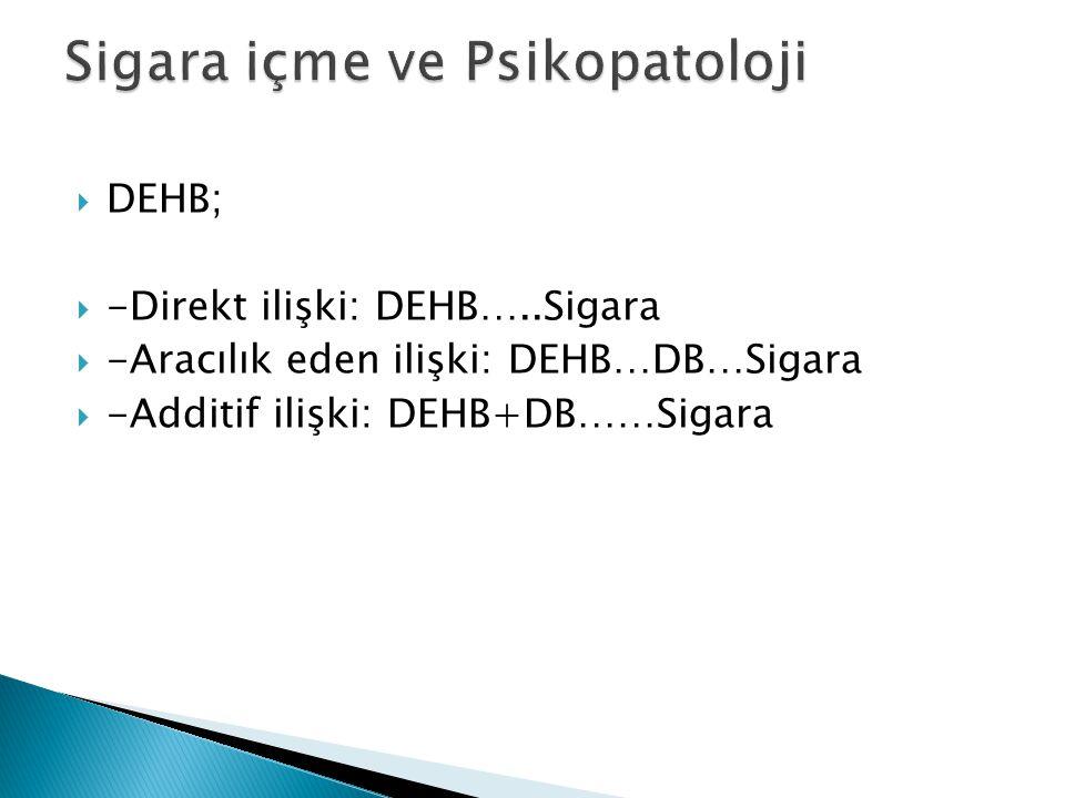  DEHB;  -Direkt ilişki: DEHB…..Sigara  -Aracılık eden ilişki: DEHB…DB…Sigara  -Additif ilişki: DEHB+DB……Sigara