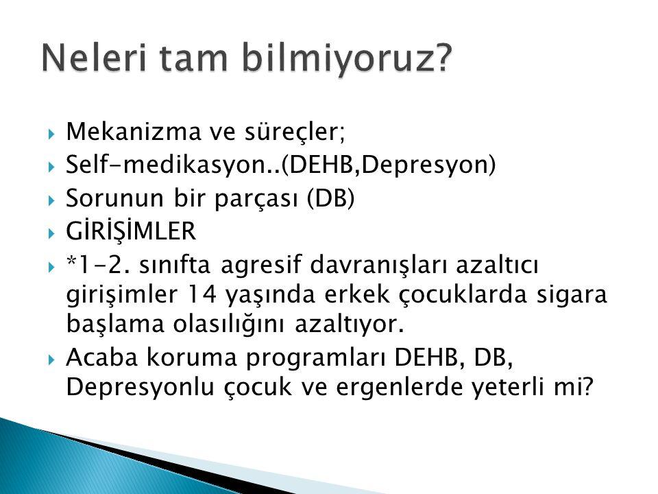  Mekanizma ve süreçler;  Self-medikasyon..(DEHB,Depresyon)  Sorunun bir parçası (DB)  GİRİŞİMLER  *1-2. sınıfta agresif davranışları azaltıcı gir